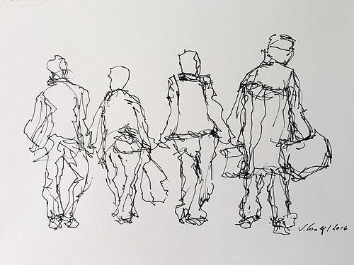 Susanne Wolf, Menschen auf der Durchreise, People: Group, Contemporary Art, Abstract Expressionism