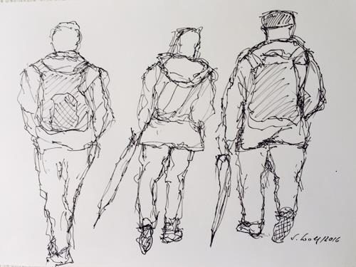 Susanne Wolf, Menschen auf der Durchreise, People: Group, Contemporary Art