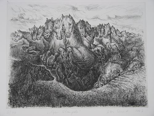 Arthur Schneid, Alpenstampede, Animals, Nature, Contemporary Art, Expressionism