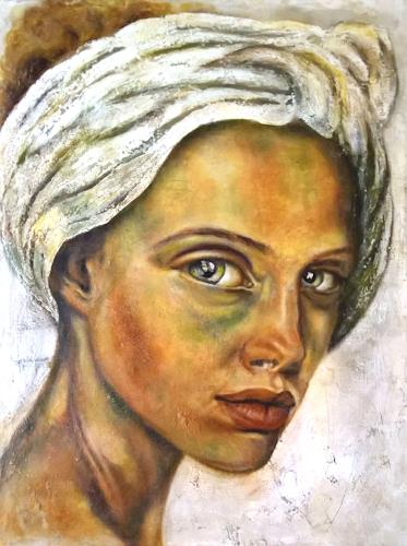 Eva Vogt, Die mit dem Turban, People: Faces, Abstract Art, Expressionism