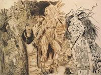 Hans-Dieter-Ilge-People-Group-Carnival-Modern-Age-Expressive-Realism