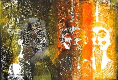 Hans-Dieter Ilge, Nofretete VI, People: Faces, History, Contemporary Art, Expressionism