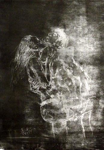 Hans-Dieter Ilge, La tendresse, Nude/Erotic motifs, Emotions: Love, Contemporary Art, Abstract Expressionism