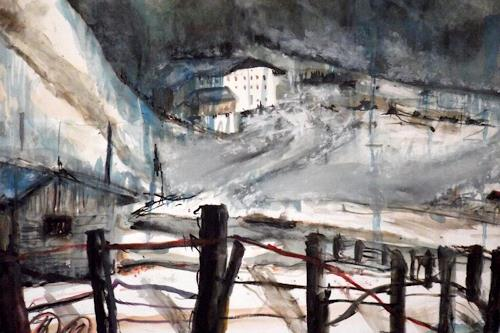 Hans-Dieter Ilge, Tauwetter am Lift, Landscapes: Mountains, Landscapes: Winter, Contemporary Art, Abstract Expressionism
