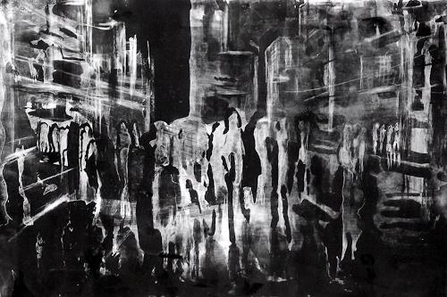 Hans-Dieter Ilge, Großstadt bei Nacht, Architecture, People, Contemporary Art, Abstract Expressionism