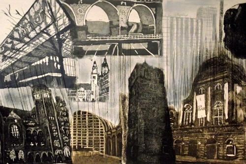 Hans-Dieter Ilge, Chemnitz, Architecture, Miscellaneous Landscapes, Expressive Realism, Abstract Expressionism