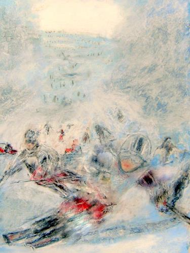 Hans-Dieter Ilge, Vom Stubai...., Landscapes: Winter, Sports, Contemporary Art, Abstract Expressionism