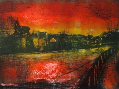 Hans-Dieter Ilge, Dezember am Rhein, Landscapes, Times: Winter, Contemporary Art, Expressionism