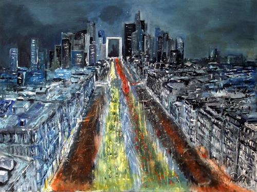 Hans-Dieter Ilge, Paris....vom Arc de Triomphe.., Architecture, Miscellaneous Traffic, Expressive Realism