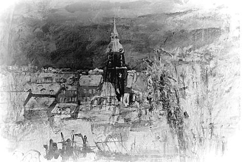 Hans-Dieter Ilge, Winternacht II, Architecture, Miscellaneous Landscapes, Contemporary Art, Expressionism