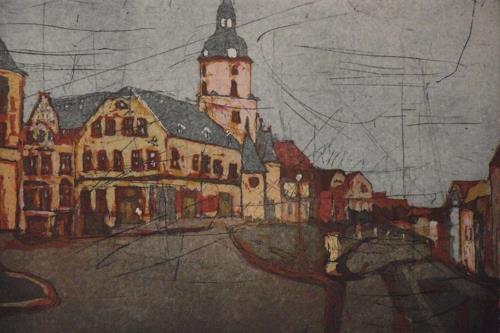 Hans-Dieter Ilge, Stadtansicht Meerane, Altmarkt, Architecture, Landscapes, Contemporary Art