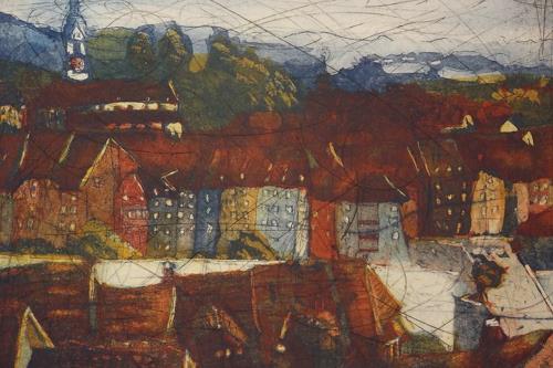 Hans-Dieter Ilge, Laufenburg, Stadtansicht II, Architecture, Miscellaneous Landscapes, Contemporary Art, Expressionism