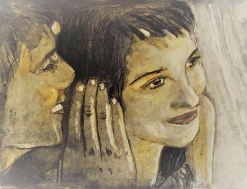 Hans-Dieter Ilge, Versprechen, People: Couples, Emotions: Joy, Contemporary Art, Expressionism