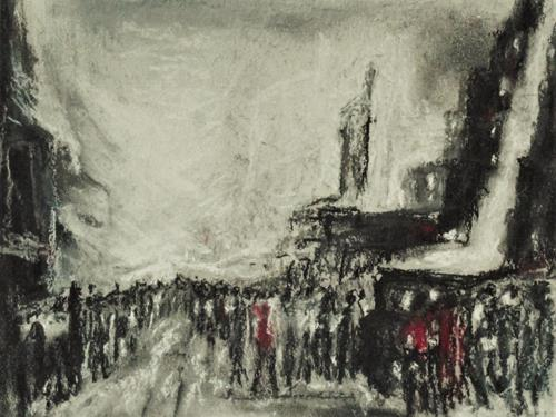 Hans-Dieter Ilge, 2021 - quo vadis?, People: Group, Expressive Realism, Abstract Expressionism