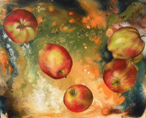 Patricia del Pilar Gottstein, Äpfel im Weltraum, Plants: Fruits, Miscellaneous Outer Space, Realism, Expressionism