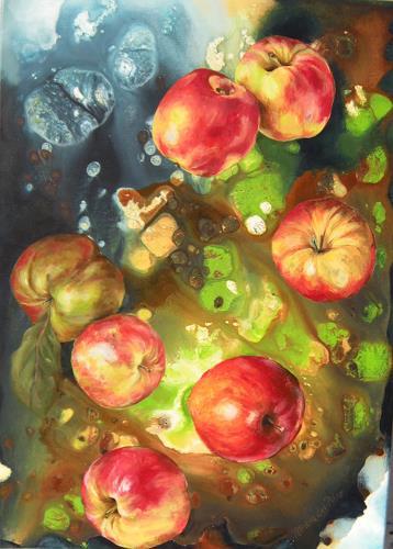 Patricia del Pilar Gottstein, Äpfel schweben 2, Meal, Situations, Realism