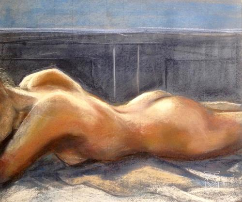 Martin Künne, Akt 205, People: Women, Erotic motifs: Female nudes, Expressive Realism, Expressionism