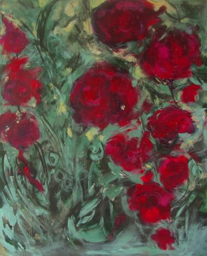 Karin Goeppert, Gartenfieber I - Gardenfever I, Abstract art, Plants: Flowers, Contemporary Art, Expressionism