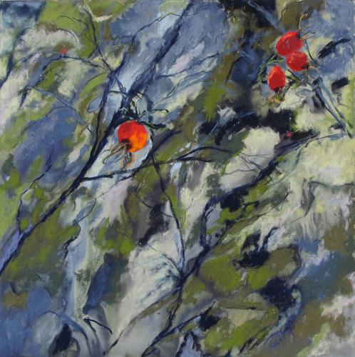 Karin Goeppert, Hagebutte II - Dog Rose II, Plants: Fruits, Abstract art, Abstract Art, Expressionism