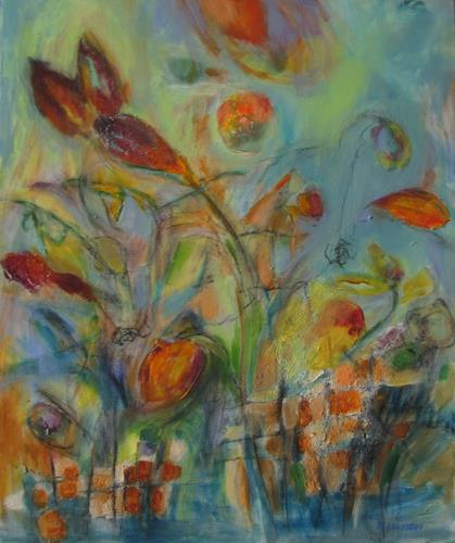Karin Goeppert, Aufbrechen, Abstract art, Plants, Contemporary Art