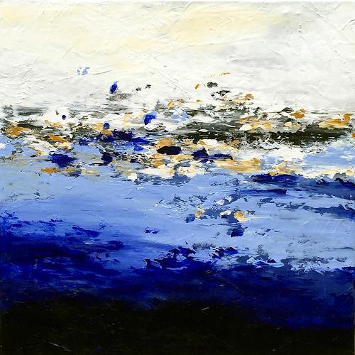 Patrizia Schüller, ABSTTRAKTE LANDSCHAFTSKOMPOSITION-BLAU, Abstract art, Landscapes: Sea/Ocean, Contemporary Art, Abstract Expressionism