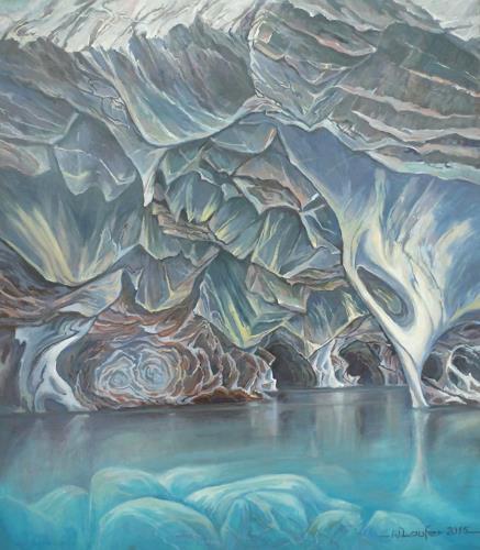 Wilhelm Laufer, Marmorhöhlen bei Tranquilla am See Carrera in Patagonien, Nature: Rock, Naturalism, Expressionism