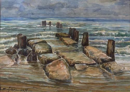 Wilhelm Laufer, Gesehen auf Borkum bei Ebbe, Nature, Nature: Water, Contemporary Art