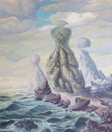 Wilhelm Laufer, Strandfiguren, Fantasy, Landscapes: Beaches, Realism, Abstract Expressionism