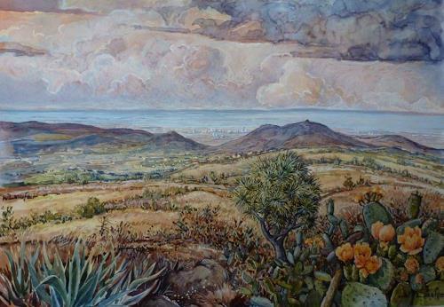 Wilhelm Laufer, Auf dem Weg nach Los Christianos, Landscapes: Tropics, Landscapes: Hills, Contemporary Art, Expressionism