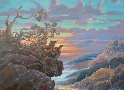 Wilhelm Laufer, Abendbild, Times: Summer, Landscapes: Mountains, Naturalism, Expressionism