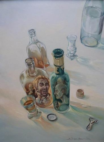 Wilhelm Laufer, Flaschengeister, Still life, Society, Realism, Abstract Expressionism