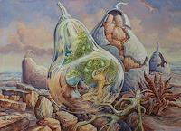 Wilhelm-Laufer-Plants-Fruits-Fantasy-Modern-Age-Abstract-Art-Non-Objectivism--Informel-