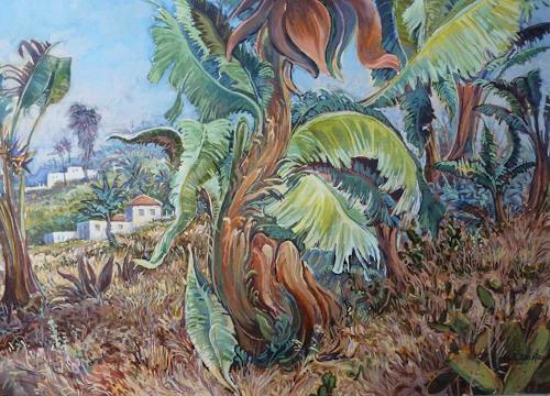 Wilhelm Laufer, Palmengarten in Tenneriffa, Landscapes: Tropics, Plants: Palm, Realism, Expressionism