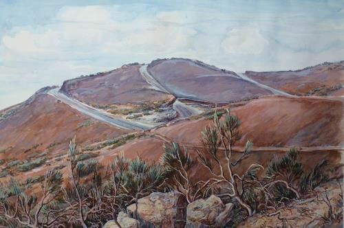 Wilhelm Laufer, Teideginster in den Las Canadas/Tenneriffa, Landscapes: Hills, Nature: Earth, Realism
