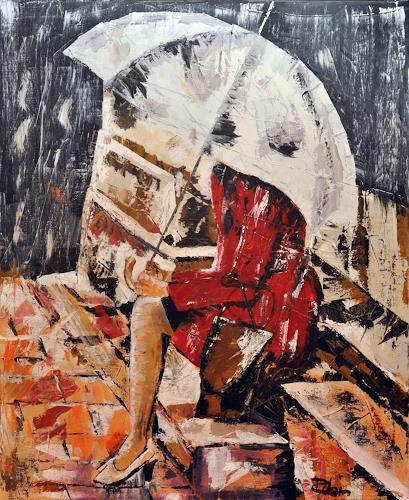 Robin W. Schmid, Escalera, People: Women, Leisure, Contemporary Art, Expressionism