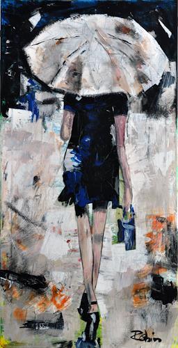 Robin W. Schmid, Regen in Venedig, People: Women, Leisure, Contemporary Art, Expressionism