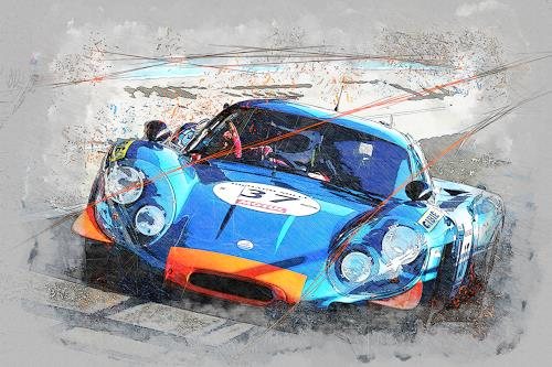 Bernd Michalak, Renault Alpine at Pitlane, Technology, Sports, Contemporary Art, Expressionism