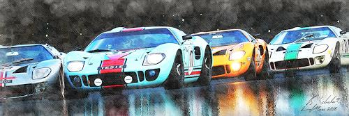 Bernd Michalak, Group of GT40 at LeMans, Technology, Contemporary Art, Abstract Expressionism