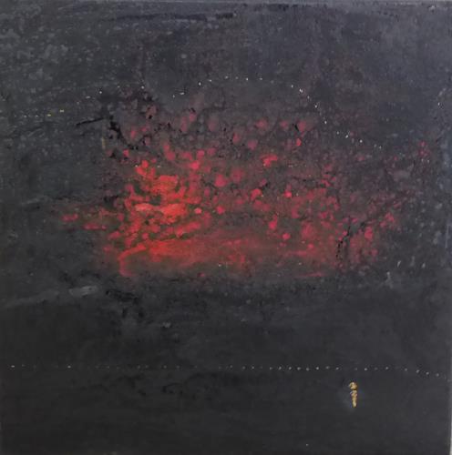 Gerhard Knolmayer, Kasimir Malewitsch blickt auf 'Berge in Flammen', Landscapes: Mountains, Landscapes: Sea/Ocean, Expressive Realism