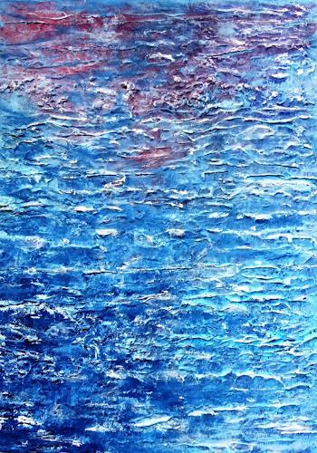 Gerhard Knolmayer, Donauwellen verbinden, Landscapes: Sea/Ocean, Landscapes: Tropics, Expressive Realism
