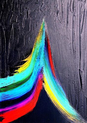 Gerhard Knolmayer, Ein Farbkreis hat sich emanzipiert und tritt vor den Vorhang, Movement, Fantasy, Expressive Realism