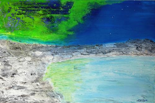 Gerhard Knolmayer, Das Nordlicht reist mit dem großen Wagen an, Landscapes: Sea/Ocean, Nature: Water, Expressive Realism