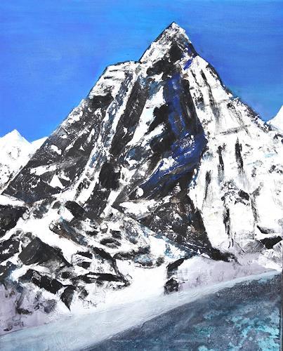 Gerhard Knolmayer, Monte Cervino - Alles hat mindestens 2 Seiten, auch das Matterhorn, Landscapes: Mountains, Nature: Rock, Expressive Realism
