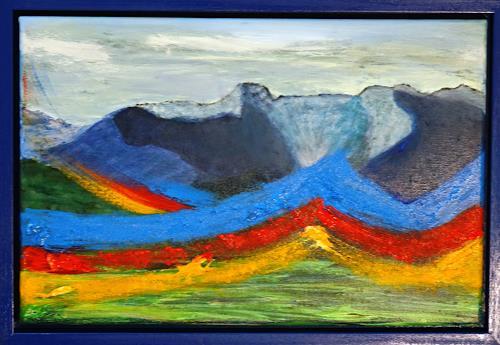 Gerhard Knolmayer, Kunterbunt in den Blauen Bergen, Landscapes: Mountains, Fantasy, Expressive Realism