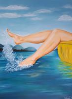 Gabriele-Scholl-Landscapes-Sea-Ocean-Nature-Water-Modern-Age-Primitive-Art-Naive-Art