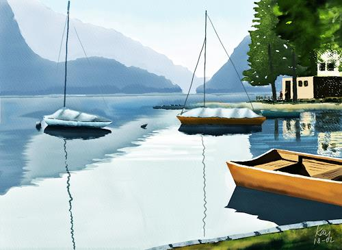 Kay, Lago di Poschiavo, Landscapes: Sea/Ocean, Nature: Water, Contemporary Art, Expressionism