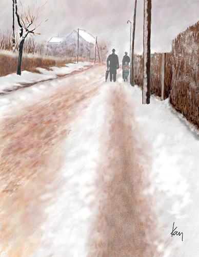 Kay, Heimweg, People, Landscapes: Winter, Contemporary Art