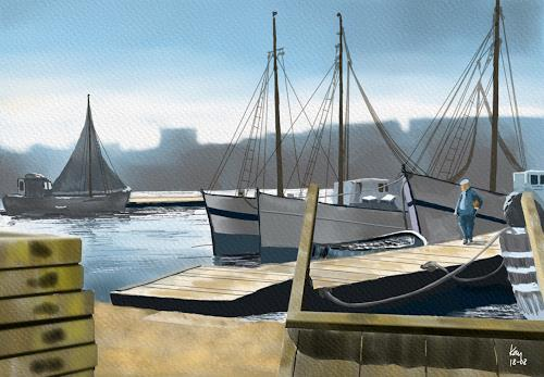 Kay, Port de Marseille 1954, Landscapes: Summer, Verkehr: Ship, Contemporary Art, Expressionism