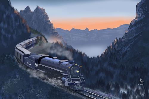 Kay, Morgenstimmung, Romantic motifs: Sunrise, Landscapes: Mountains, Contemporary Art, Expressionism