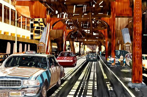 Kay, Below the subway, Traffic: Car, Traffic: Railway, Contemporary Art, Expressionism